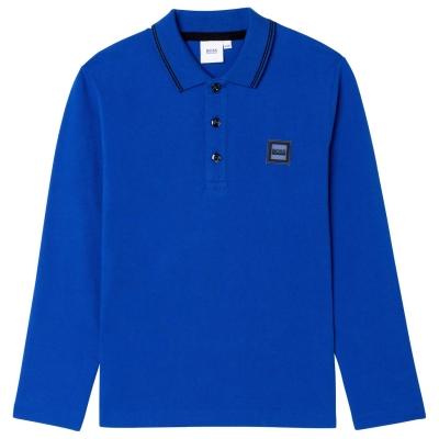 Tricou Polo cu Maneca Lunga Boss Badge albastru