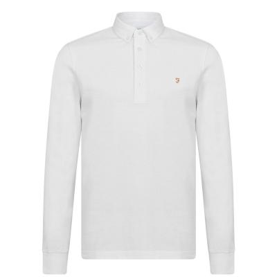 Tricou Polo cu Maneca Lunga Farah Vintage Ricky alb
