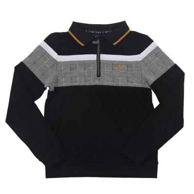 Tricou Polo cu Maneca Lunga Firetrap pentru Barbati negru patratele