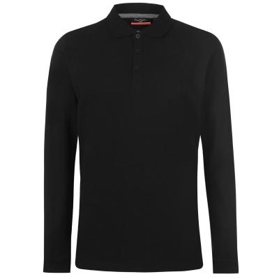 Tricou Polo cu Maneca Lunga Pierre Cardin Plain pentru Barbati negru