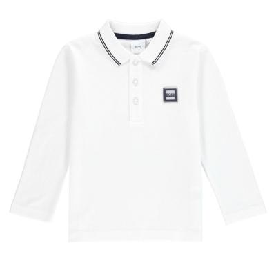 Tricou Polo cu Maneca Lunga Boss Badge alb 10b