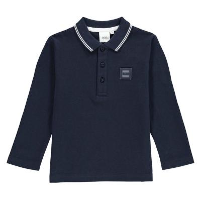 Tricou Polo cu Maneca Lunga Boss Badge bleumarin