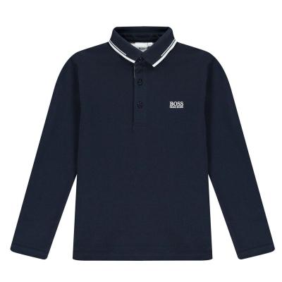 Tricou Polo cu Maneca Lunga Boss clasic pentru baietei bleumarin