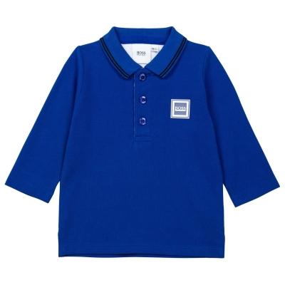 Bluza polo cu maneca lunga Boss Hugo Boss Logo albastru