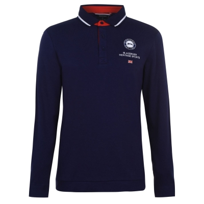 Tricouri Polo Slazenger cu Maneca Lunga Sport pentru Barbati bleumarin