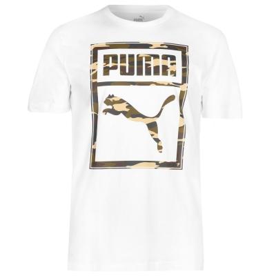 Tricou Puma Box QT pentru Barbati alb camuflaj