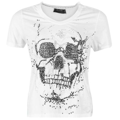 Tricou Religion Skull Embellished alb