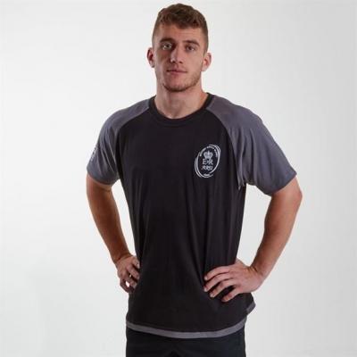 Tricou Samurai Army Rugby Union cu maneca scurta Replica pentru Barbati negru gri