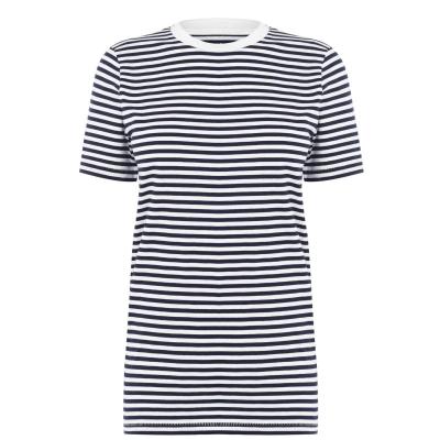 Tricou Selected cu Maneca Scurta Box pentru Femei maritime albastru