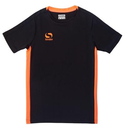 Tricou Sondico Fundamental Polo pentru baietei negru portocaliu fosforescent
