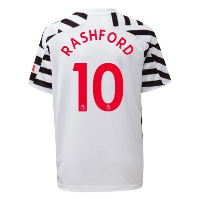Tricou sport Third adidas Manchester United Marcus Rashford 2020 2021 pentru copii alb negru