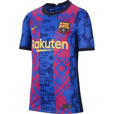 Tricou sport Third Nike Barcelona 2021 2022 pentru copii albastru galben
