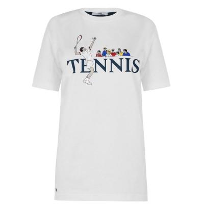 Tricou tenis Lacoste LVE alb multicolor