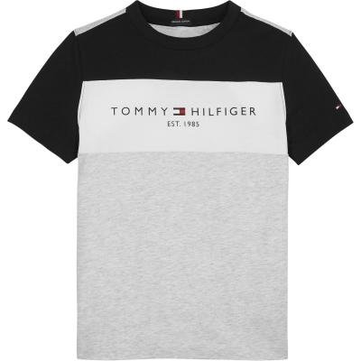 Tricou Tommy Hilfiger Colour Block Essential gri pz1