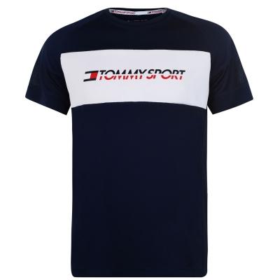 Tricou Tommy Sport perforat plasa bleumarin