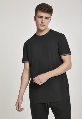 Tricou urban Ringer Rib negru-gri Urban Classics