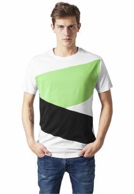 Tricou Zig Zag alb-negru Urban Classics verde deschis