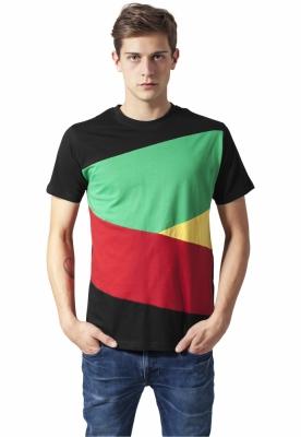 Tricou Zig Zag negru-rasta Urban Classics