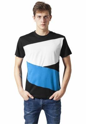 Tricou Zig Zag negru-turcoaz Urban Classics alb