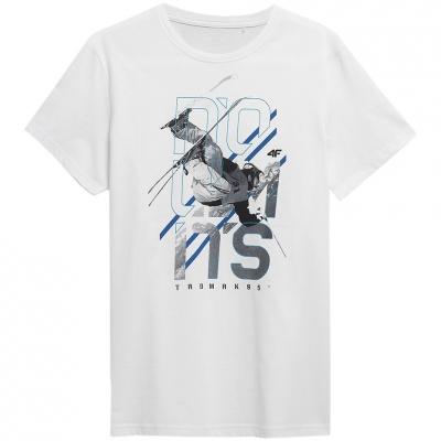 Tricouri 4F alb H4Z21 TSM018 10S pentru Barbati