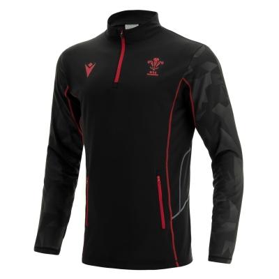 Tricouri antrenament Macron Wales Rugby Quarter cu fermoar pentru Barbati negru rosu