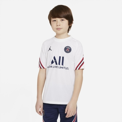 Tricouri antrenament Nike Paris Saint Germain x Jordan Strike 2021 2022 pentru copii alb