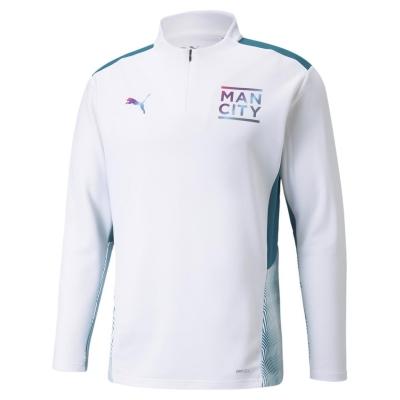 Tricouri antrenament Puma Manchester City Quarter cu fermoar 2021 2022 pentru Barbati alb verde