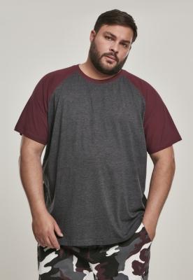 Tricouri casual in doua culori pentru barbati gri-carbune Urban Classics visiniu
