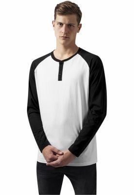 Tricouri cu maneca lunga si nasturi la baza gatului LS alb-negru Urban Classics