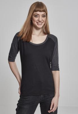 Tricouri cu maneca trei sferturi raglan negru-gri Urban Classics carbune