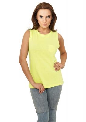 Tricouri fara maneci cu buzunar galben-neon Urban Classics