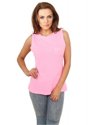 Tricouri fara maneci cu buzunar roz-neon Urban Classics