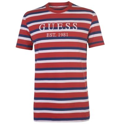 Tricouri Guess Harry rosu alb albastru