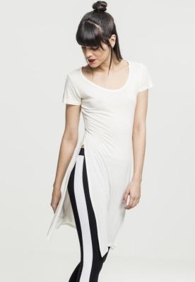 Tricouri lungi cu crapaturi laterale alb murdar Urban Classics