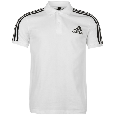 Tricouri Polo adidas 3 Stripes Logo pentru Barbati alb negru