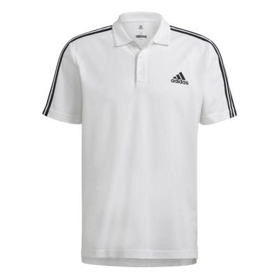 Tricouri Polo adidas bumbac 3-Stripes pentru Barbati alb negru