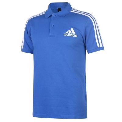 Tricouri Polo adidas bumbac 3-Stripes pentru Barbati albastru alb