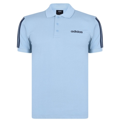 Tricouri Polo adidas bumbac 3-Stripes pentru Barbati gri deschis bleumarin