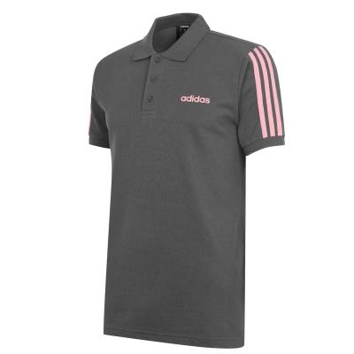 Tricouri Polo adidas bumbac 3-Stripes pentru Barbati gri inchis roz