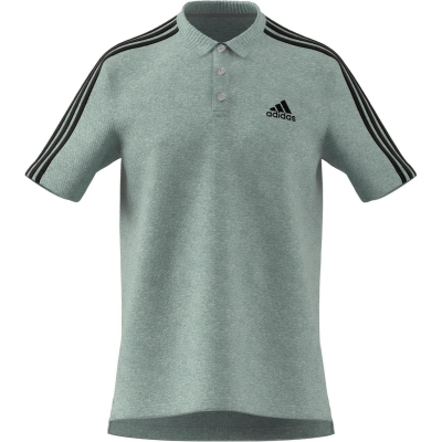 Tricouri Polo adidas bumbac 3-Stripes pentru Barbati gri negru