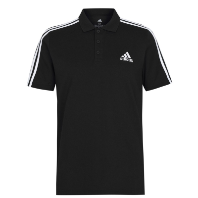 Tricouri Polo adidas bumbac 3-Stripes pentru Barbati negru alb