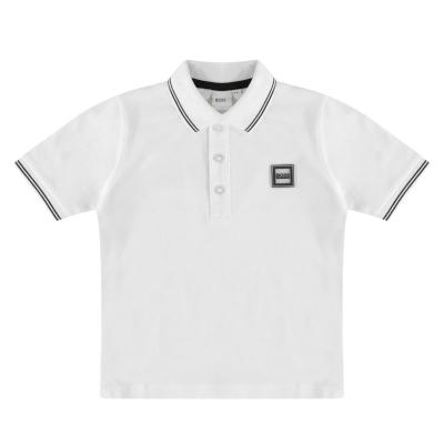 Tricouri polo Boss Hugo Boss Badge Logo pentru copii alb 10b