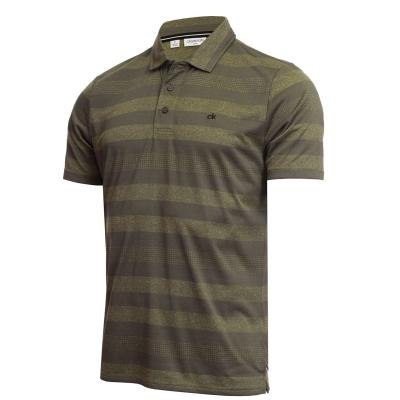 Tricouri polo cu dungi Calvin Klein Golf Shirt military verde gri