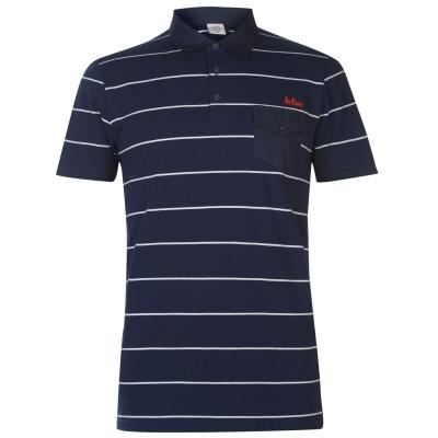Tricouri polo cu dungi Lee Cooper pentru Barbati bleumarin alb