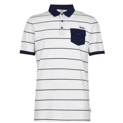 Tricouri polo cu dungi Lee Cooper pentru Barbati alb bleumarin
