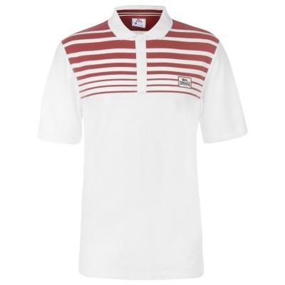 Tricouri polo cu dungi Lonsdale Yarn Dye Shirt pentru Barbati alb rosu burgundy