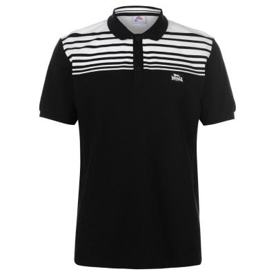 Tricouri polo cu dungi Lonsdale Yarn Dye Shirt pentru Barbati negru alb