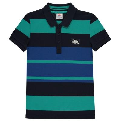 Tricouri polo cu dungi Lonsdale Shirt pentru baietei bleumarin albastru alb