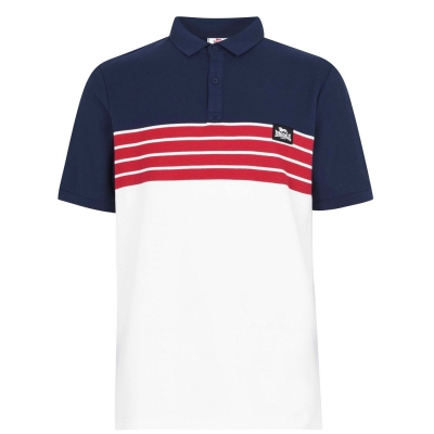 Tricouri polo cu dungi Lonsdale Yarn Dye Shirt pentru Barbati alb bleumarin rosu