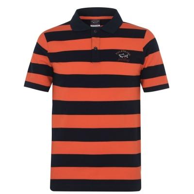 Tricouri polo cu dungi Paul And Shark Crew Basic Shirt portocaliu bleumarin